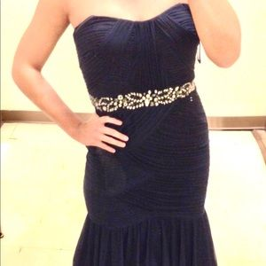 Adrianna Papell Dark Blue Evening Gown